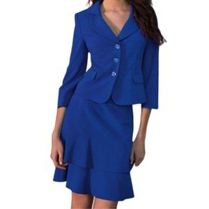 Albert Nipon Royal Blue 2 Piece Skirt Suit 4 NWT
